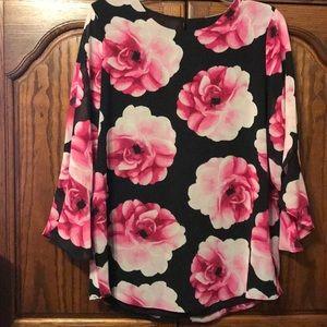 Elegant Black and Pink Floral Blouse